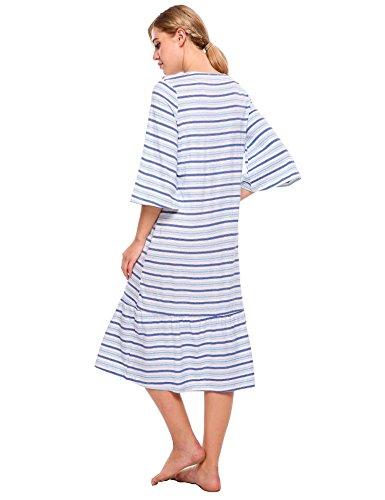 ADOMER Damen Nachthemd Baumwolle Loose fit Bluse Kleid Herbst Langarmshirt Stillnachthemd Schwarz Blau Orange S-XXL Blau