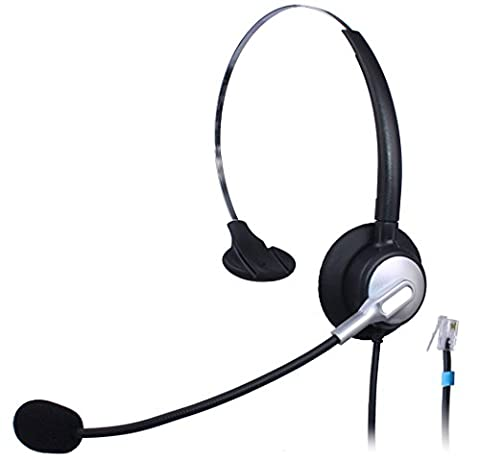 Wantek Monaural Call Center Telephone Headset Headphone with Mic for Cisco Unified IP Phones 7931G 7940G 7941G 7942G and Plantronics M10 MX10 Vista Modular