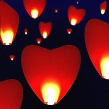 Domire–Confezione da 10lanterne volanti, cinese tradizionale Lanterne Volanti fascio RED HEART