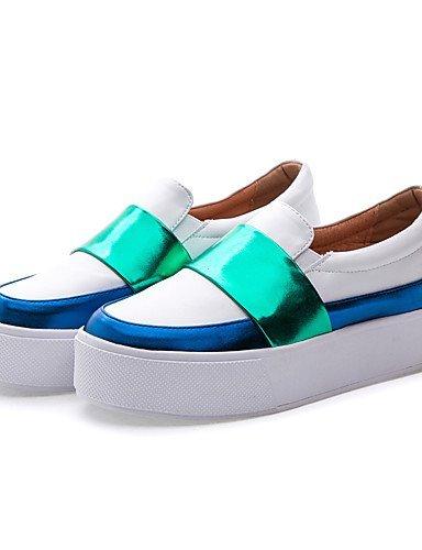 Chaussures Femme Shangyi - Ballerines - Décontractées - Confortable / Bout Arrondi / Fermé - Plat - Brevet - Noir / Blanc Blanc