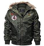 fuhuaxi Herren Winter Fliegeranzug Jacke Lose Isolierter Mantel Parker Walker Jacket Lätzchen