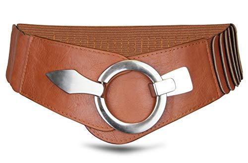 Elastischer Damen Taillengürtel, ca. 6 cm breiter Hüftgürtel mit silberner Ring-Schließe, camel, 80cm - Breite Gürtel