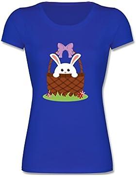 Anlässe Kind - Osterhase im Korb - Kinder Mädchen T Shirt leicht tailliert