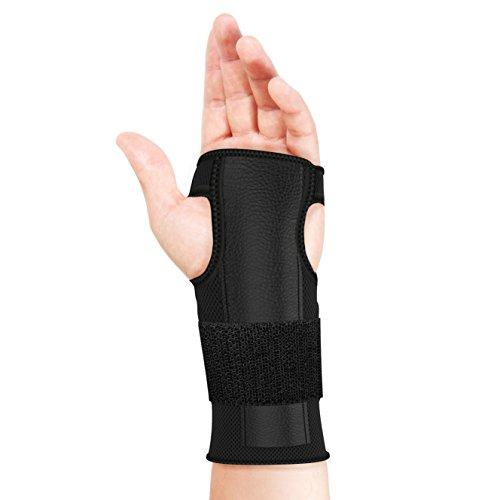 bonmedico Reno Elastische Handgelenkbandage mit Metall-Schiene, Schmerzlinderung für Karpaltunnelsyndrom und Sehnenscheidenentzündung, Handgelenkstütze beidseitig tragbar, Damen und Herren, Schwarz - Elastische Handgelenk Hand Stütze