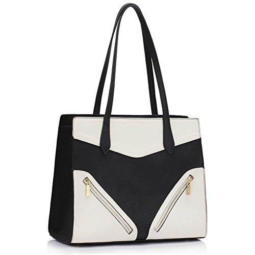 TrendStar Frau Schulter Taschen Damen neu Entwerfer imitat Leder Patent Stil Handtaschen Schwarz/Weiß