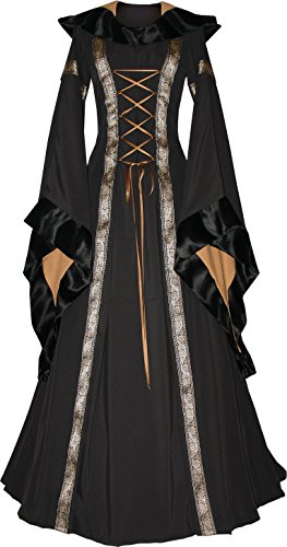 Dornbluth Damen Mittelalter Kleid Sarah (40/42, Schwarz-Safran)