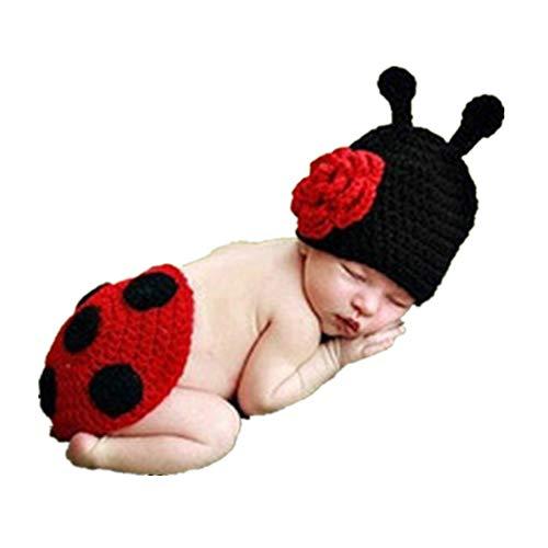 HAPPY ELEMENTS Reizendes Säuglingstier Weiches Kostüm Handgemachtes Gestricktes Neugeborenes Wollhäkelarbeit Käfer Fotographie Stütze Baby Kleidung Stützenbaby Geschenk
