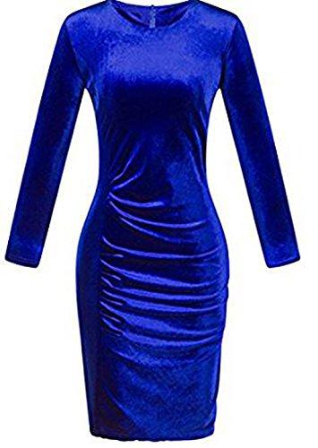 Le Donne a Maniche Lunghe Giro Collo Plissettata Bodycon Vestito Eleganti Retro Abito di Velluto Sottile Knee-Length Vestiti da Cerimonia Sera Partito Festa Blu
