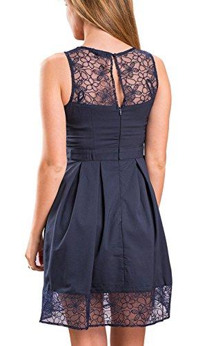 Minetom Damen Sommer Elegant Einfarbig Tuniken Kleider Schlank Spitze Saum Ein Stück Knie Hoch Kleid Navy Blau
