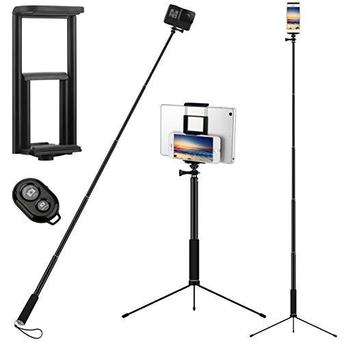 PEYOU Perche Selfie Bluetooth Trépied,3 en 1 68'' Extensible Bâton de Selfie Trépied Monopode avec Télécommande Matériau Tige en oxyde d'aluminium anodisé pour Gopro,iphone,ipad,Samsung,caméra