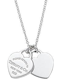 8ccde54476ee  Tiffany  Tiffany Sterling Silber RTT Doppel Herz Anhänger Halskette Mini   Parallel Import Goods