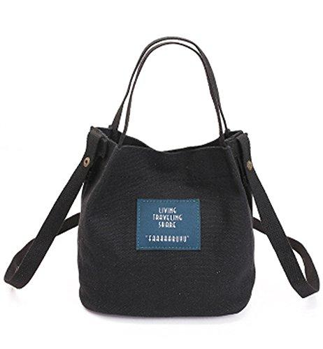 Blue Vessel Segeltuch-Stickerei-Schulter-Beutel-Frauen-Kurier-Beutel-Damen-Handtaschen-Strand-Tote Schwarz