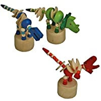 Dinosaur Wooden Push Puppet Toy - Assorted Colours/Designs by KCFT