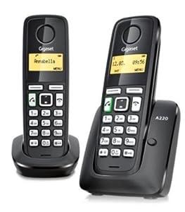 telefonos: Gigaset A220 Duo - Teléfono inalámbrico DECT (manos libres, agenda de hasta 80 c...