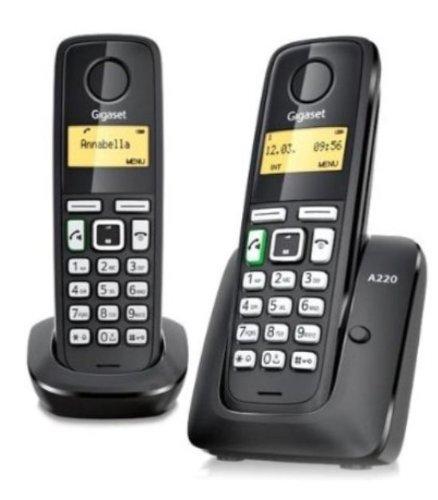 Gigaset A220 Duo - Teléfono inalámbrico DECT (manos libres, agenda de hasta 80 contactos), negro