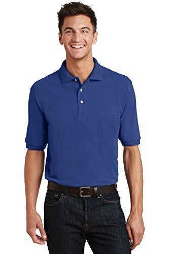 Port Authority® Pique Knit Polo with Pocket. K420P Royal 3XL (Shirt Knit Pique)