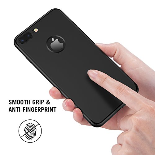iPhone 7 Plus Hülle, RANVOO aus Soft Silikon Material Anti-Fingerabdruck Extra Dünn Case for iPhone 7 Plus Schwarz, [TENDER005] Schwarz