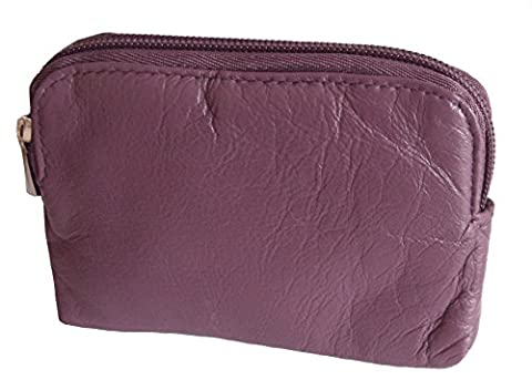 Soft Leather Zip Top Coin and Credit Card Purse (Plum)