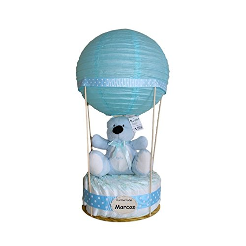 Globo de pañales azul, tarta de pañales original regalo para bebe niño