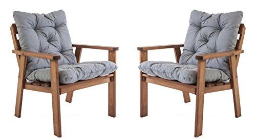 Ambientehome Gartensessel Loungesessel Sessel Gartenstuhl Massivholz inkl. Kissen HANKO, braun, 2-teiliges Set