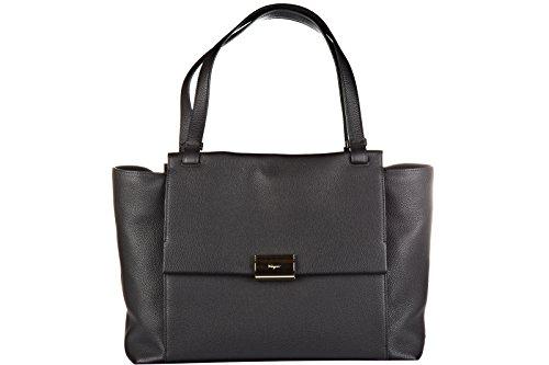 Salvatore Ferragamo borsa donna a spalla shopping in pelle nuova bitter nero