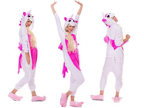 Pikachu Pyjamas Kostüm EINHORN KOH Jumpsuit Erwachsene Unisex Tier Cosplay Halloween Fasching Karneval Plüsch Schlafanzug Tierkostüme Anzug Flanell (M, Einhorn Weiß mit Rosa)