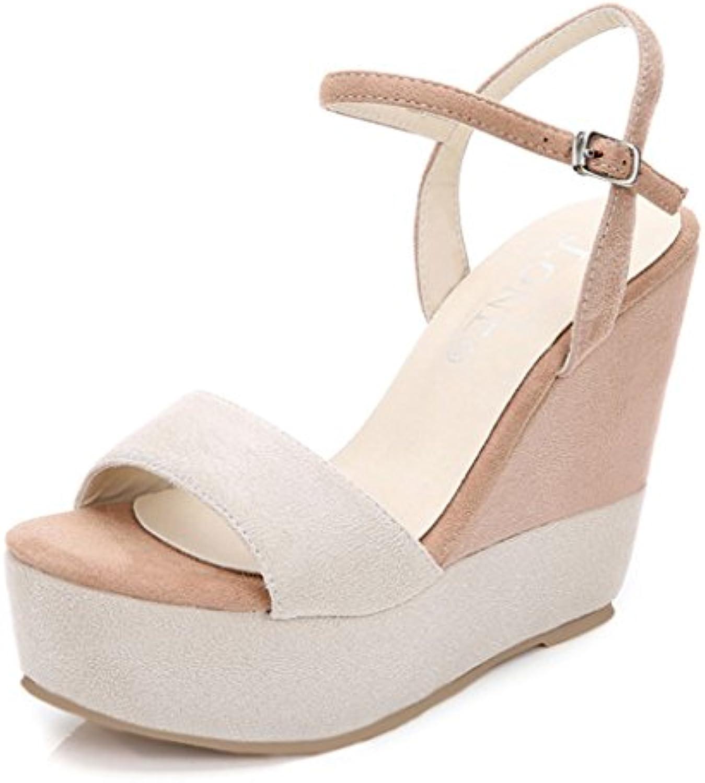 GTVERNH Zapatos de mujer/Verano/Huecos de 13 cm tacón alto zapatos de tacón hembra hebillas sandalias impermeables tablas talones finos zapatos de boca de peces, silvery, Thirty-six Thirty-six|silvery