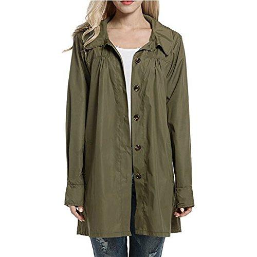 iHENGH Damen Regenmantel Jacke,Women Solide Coat Hooded Leichte Outdoor-Sport Mantel Wasserdichte Cardigan Parka Outwear Tops (EU-40/CN-S,Armeegrün)