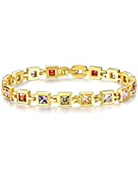 YELLOW CHIMES Shining Squares High Quality 16K Gold Plated Swiss AAA Zircons Designer Bracelet for Women…