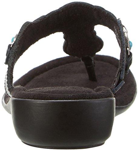 Minnetonka Damen Boca Thong II Pantoletten Schwarz (Black)
