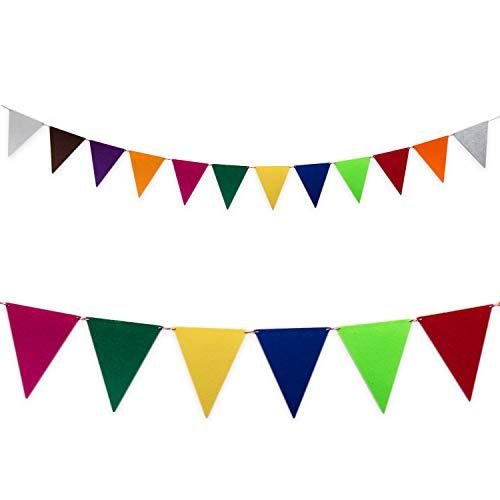 (Oblique Unique® Wimpel Girlande Banner aus Filz 2,4m im Farbmix Wimpelkette für Geburtstag Feier Party Kindergeburtstag Deko)