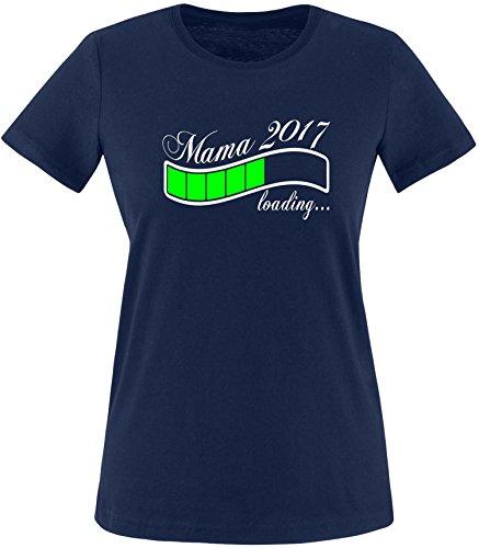 EZYshirt® Mama 2017 Damen Rundhals T-Shirt Navy/Weiss/Neongr