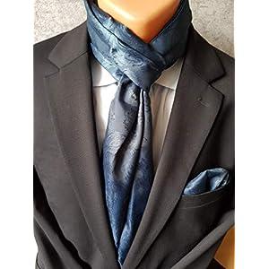Exklusiver Festlicher Herren Schal mit passendem Einstecktuch in Blau mit Paisleymuster