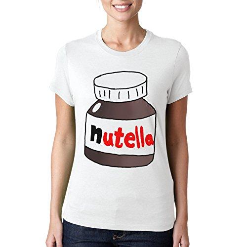 Big barattolo di Nutella-Maglietta da donna, colore: cioccolato bianco (Cioccolato Photo)