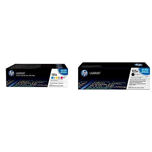 HP 125A 3er-Pack (CF373AM) Blau/Rot/Gelb Original Toner für HP Color Laserjet CP1215, CP1515, CM1312 & HP 125A (CB540A) Schwarz Original Toner für HP Color Laserjet CP1215, CP1515, CM1312 -