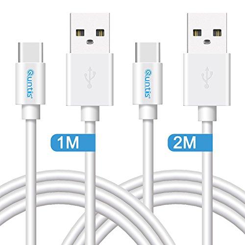 Quntis Typ c Ladekabel Huawei p10/p20 Kabel Nokia 8 Ladekabel Honor 8 Samsung s7/s8/Ladekabel Note 8 Kabel USB Typ C Ladekabel 1M+2M Weiß
