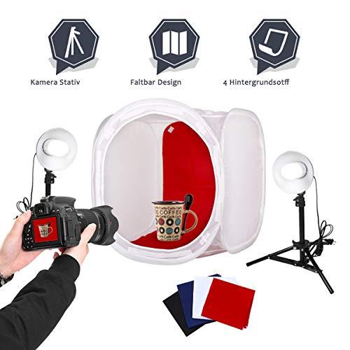 Buseu Lichtzelt 80x80 Mini Fotostudio Lichtzelt mit Beleuchtung Fotozelt Tragbare Lichtwürfel Insgesamt 4 Hintergründe (weiß/schwarz/blau/rot) -