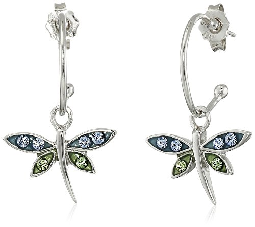 Amazon Sterling Silver Blue and Green Crystal Dragonfly Charm Hoop Earrings (0.4 Diameter)