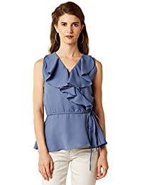 Miss Chase Women's Blue Ruffled Top