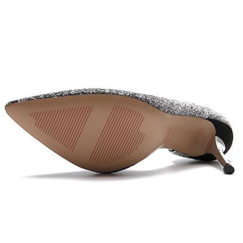 L@YC® I Talloni Degli alti Donne Laterali Lasciano Vuoti I Sandali Con Il Vestito a Sfera Di Cristallo Punta Black