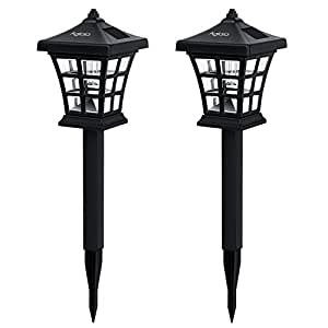 aglaia led solar lights garden pack of 2 led solar lamps waterproof rechargeable outdoor stake. Black Bedroom Furniture Sets. Home Design Ideas
