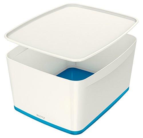 Leitz MyBox, Aufbewahrungsbox mit Deckel, Groß, Blickdicht, Weiß/Blau Metallic, Kunststoff, 52164036 (Modular-box-system)