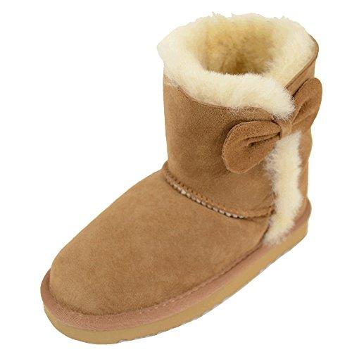 Bushga Kinder-Stiefel aus echtem Schaffell, mit Schleife und -
