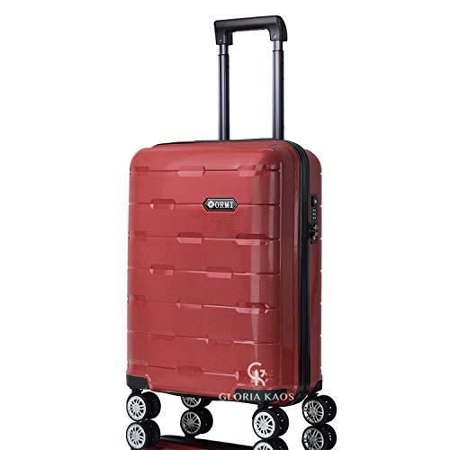 Gloria Kaos - Valigia Trolley in Polipropilene 55x40x22 Bagaglio a Mano Flessibile e Resistente (PP01-Red 55cm)