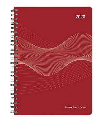 Wochenplaner PP-Einband rot 2020 - Bürokalender A5 - Cheftimer - Ringbindung - 1 Woche 2 Seiten - 128 Seiten - Terminplaner - Notizbuch - Ring Timer