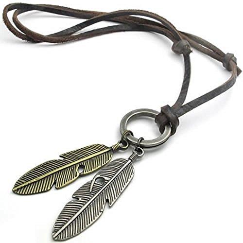 mendino joyas vintage colgante de plumas de ángel Cordón de piel para hombre collar de cadena, con 1x velevet bolsa