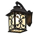 Außenwandleuchte Europäische Metall Wandlampe Moderne Außenwandleuchte hängend regengeschützt Wandleuchte Glas Wandlampe Deco Wand Landhausstil für Wandleuchter Villa Treppen Außen Wandleuchte