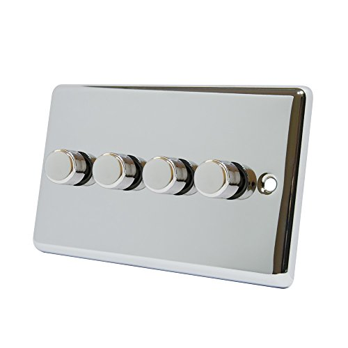AET CPC4GDIM4 4 Gang 2 Way 10 A 400 W Classical Chrome Polished Light Dimmer Switch by AET (4 Way Light Switch)