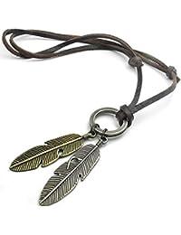 MENDINO Collar con cordón de piel y colgante en forma de plumas de ángel, para hombre, incluye bolsa de terciopelo