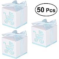 LUOEM Favor de la boda Cajas de dulces Laser Cut Cajas de dulces para los pájaros Caja de dulces Caja de favor de la boda de papel bricolaje Ducha nupcial Fiesta de cumpleaños del bebé Cajas de dulces de azúcar, paquete de 50